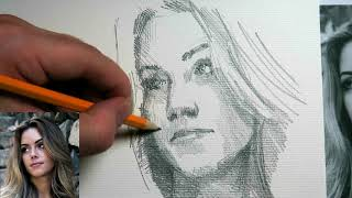How to draw a pretty girl using graphite pencil