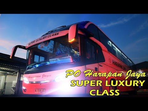 TERMEWAH ! Trip by SUPER LUXURY CLASS bus Harapan Jaya ( Kediri - Jakarta )