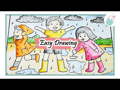 Playing Football in the Rain Clip Art