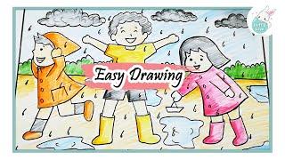 How to draw kids enjoying Rainy season easy scenary drawing tutorial for kids