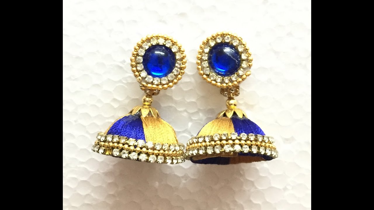 kushaan silk yellow earrings arts thread jhumkas triple jhumka