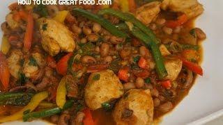 Chicken Chili  Beans Recipe - Black Eye Peas  Mexican Tex
