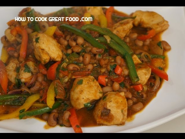 Chicken Chili  Beans Recipe - Black Eye Peas  Mexican Tex Travel Video