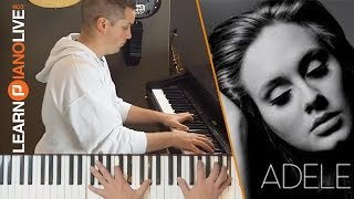 Never Gonna Leave You Adele piano cover tutorial with chords and sheet music in description