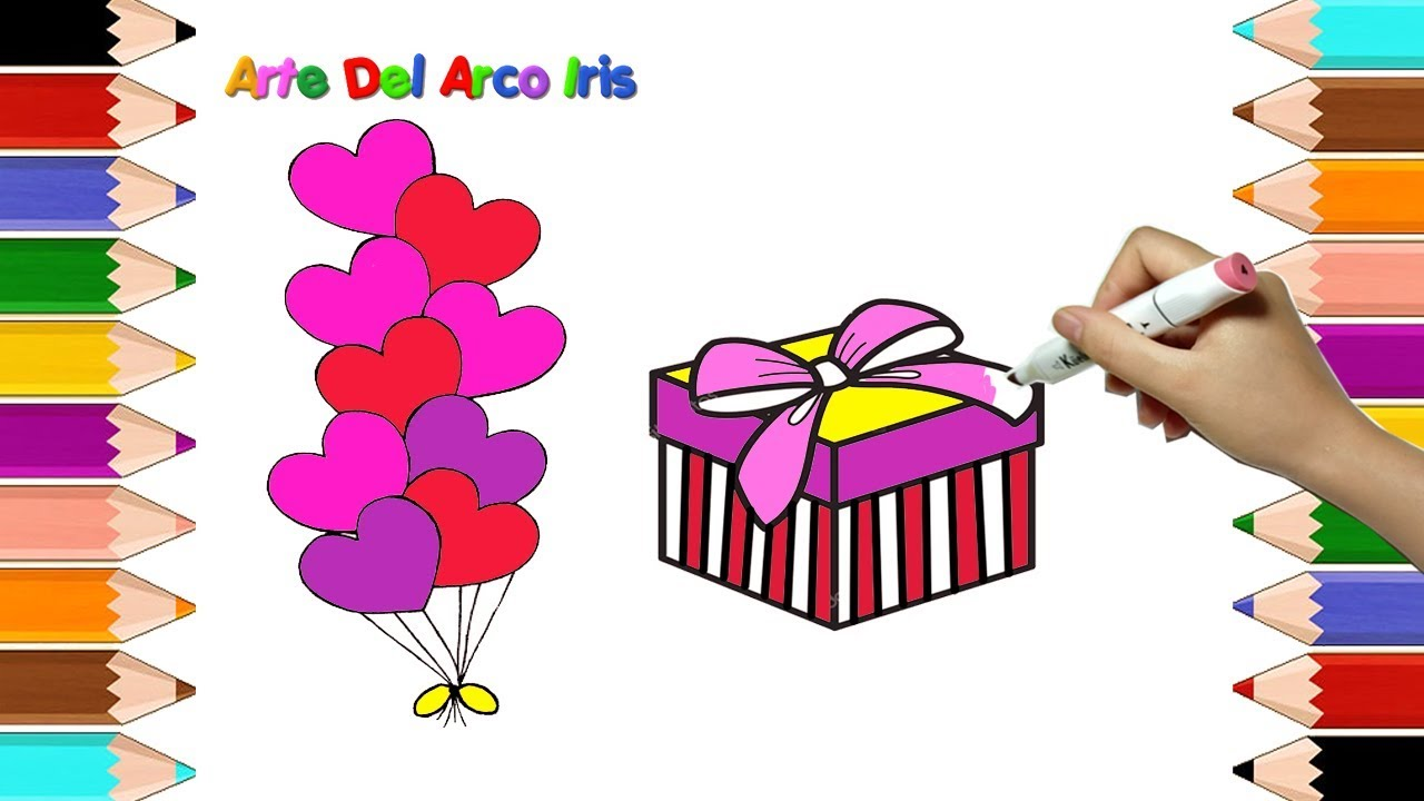 Como Dibujar Una Caja de Regalo, globos de cumpleaños Para niños ...