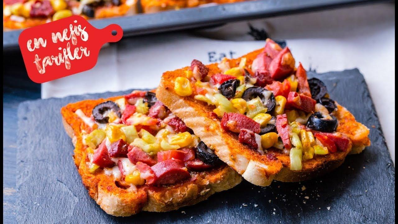 Tost Ekmeğinden Kahvaltılık Minik Pizza Nasıl Yapılır? Kolay Pizza Tarifi (Kahvaltılık Tarifler)