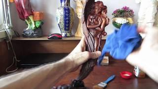 Резьба по дереву ! Резная работа скульптуры Преданность ! Ореховое полено !