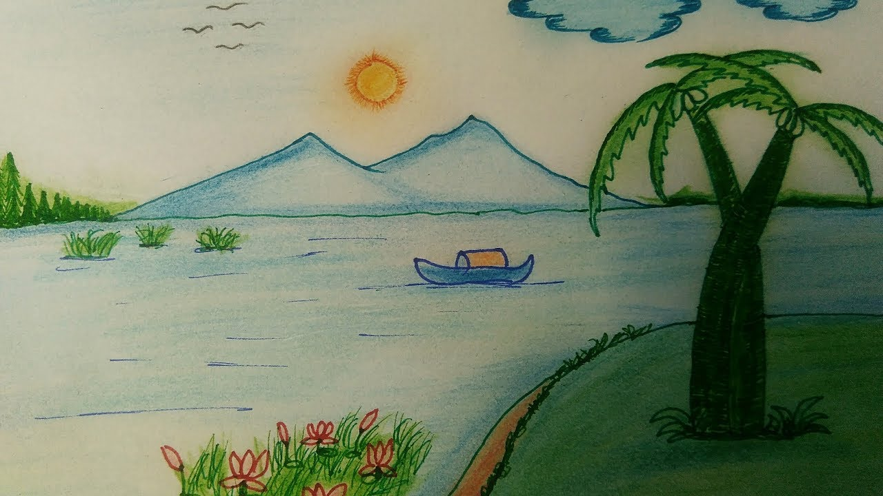 Beautiful nature drawing step by step simple painting