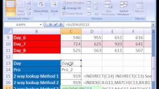 Excel Magic Trick #136: Two 2 way lookup with VLOOKUP & MATCH