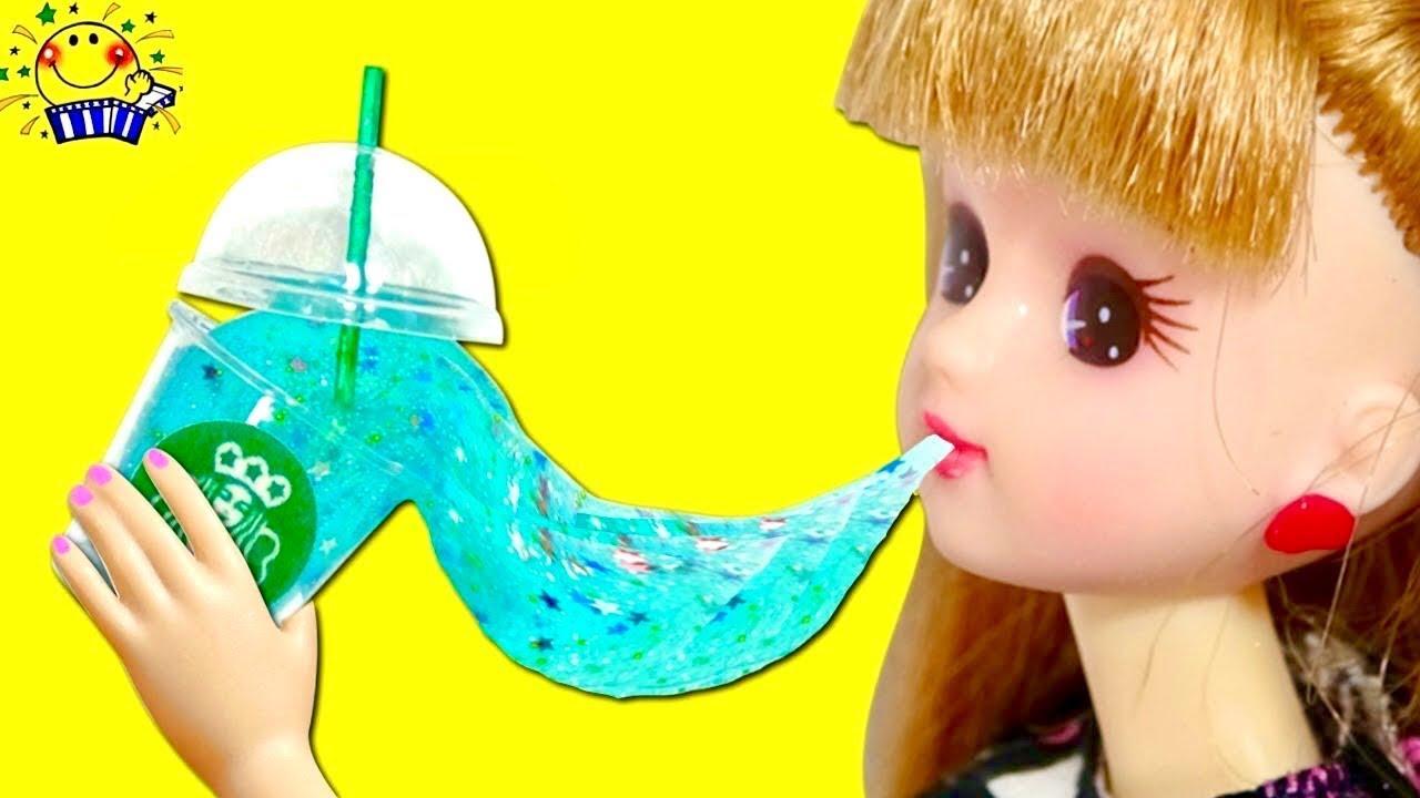 リカちゃんとアンパンマンで手作りスライム対決をするよ★ ミニチュアスマホをDIY★ ディズニープリンセスのスライムジュースでお店屋さんごっこ♪Miniature Liquid Slime Phone