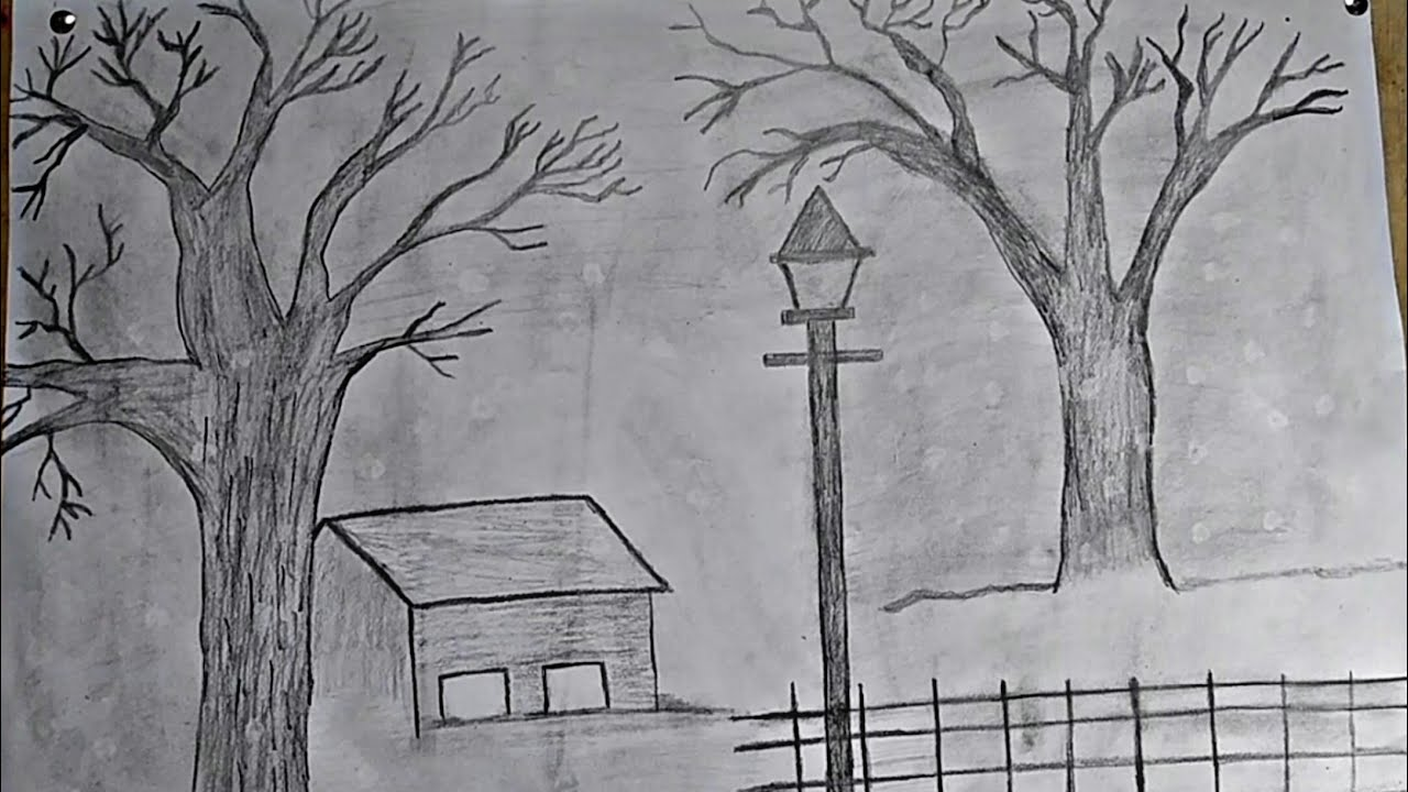 how to draw pencil drawing   Pencil shading Landscape ...