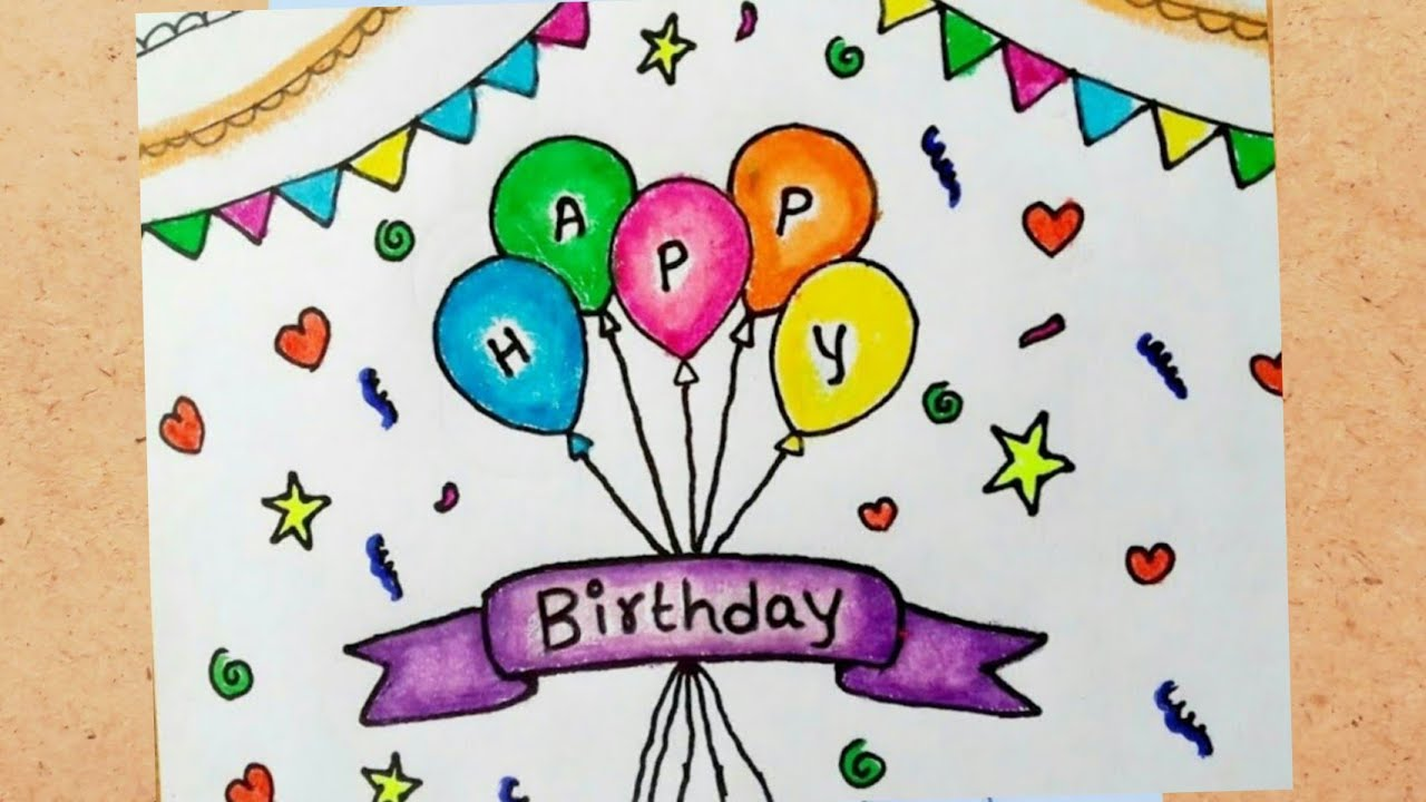 Birthday Greeting Card Drawing How To Draw Happy Birthday Card Happy Birthday Greeting Card Drawing Youtube