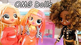 LOL Dolls Baby Sit OMG NEON QT Famiky in with Barbie Family Goldie