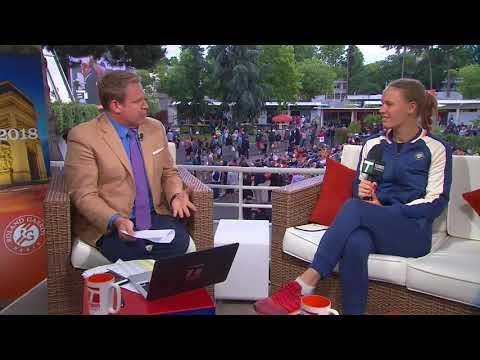 Caroline Wozniacki - Roland Garros Tennis Channel Desk Visit