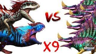 Индоминус и Юдон против 9 Приотродонов Jurassic World The Game прохождение на русском