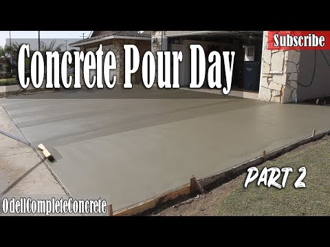 How to Pour a Concrete Driveway, Patio,and Side Yard Pour Day Part 2