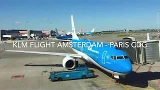 KLM Full Flight Amsterdam to Paris and Breathtaking Landing over Paris