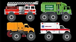 Find The Monster Trucks Game for Kids - Learn Monster Vehicles Names & Sounds - Organic Learning