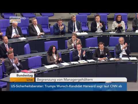 Bundestag: Debatte über überhöhte Managergehälter am 17.02.2017