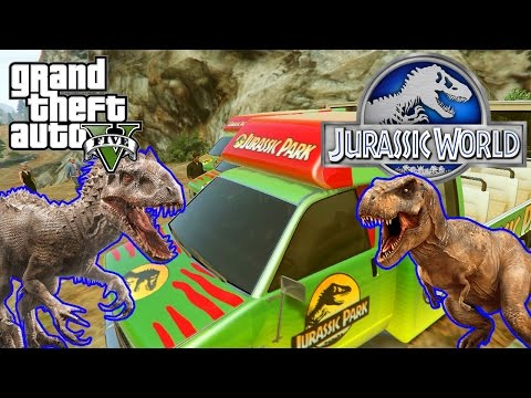 Grand Theft Auto V: Jurassic World (Jurassic Park Car Mod, Film Scene, Outtakes, Fails)