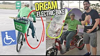 "Surprising a One-Legged ""GRAB FOOD Bicycle DRIVER"" his Dream E-BIKE! 🙌🇵🇭 (Inspiring Story)"