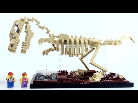 Nanoblocks Velociraptor Dino Skeleton exhibit - Lego style dinosaur bricks - Dinosaurs speed build