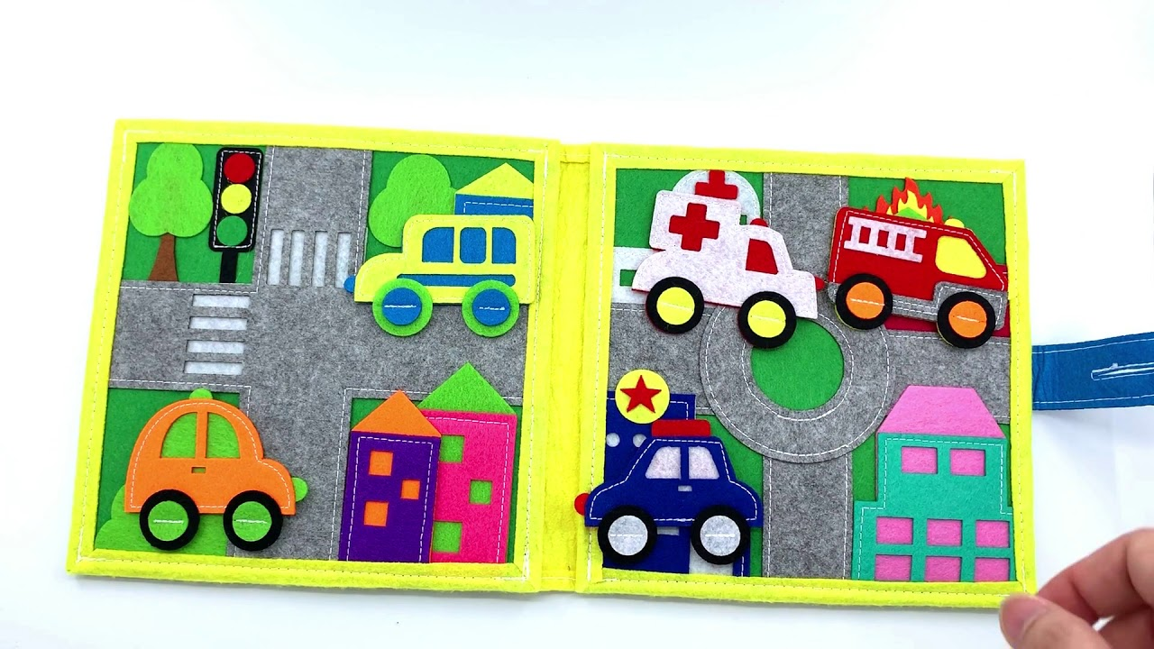 Quiet book for toddlers Vehicles smart book montessori toy soft book birthday gift