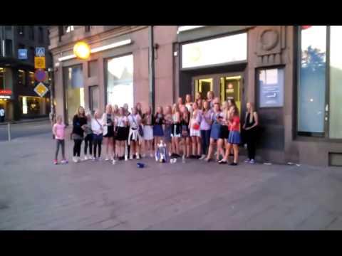 Icelandic football (soccer) team singing in Helsinki :)