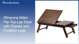 Winsome Alden Flip-top Lap Desk With Drawer And Foldable Legs