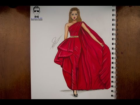 27036100a  تعليم رسم وتصميم الازياء مع التلوين how to draw fashion - YouTube