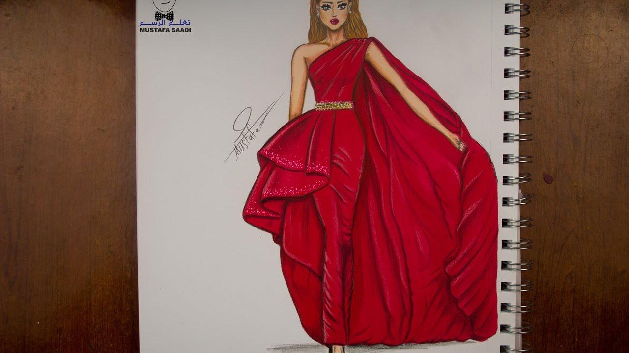 117759088 تعليم رسم وتصميم الازياء مع التلوين how to draw fashion - YouTube