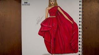 تعليم رسم وتصميم الازياء مع التلوين  how to draw fashion