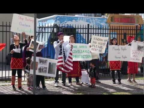 Kachin refugee protest against Burma at Chinese Embassy in Houston Jan 10,2013 (Kachin State Day)