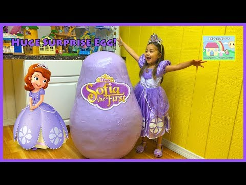 World's Biggest Sofia the First Egg Surprise Opening Disney Junior Toys & Play-Doh Surprises