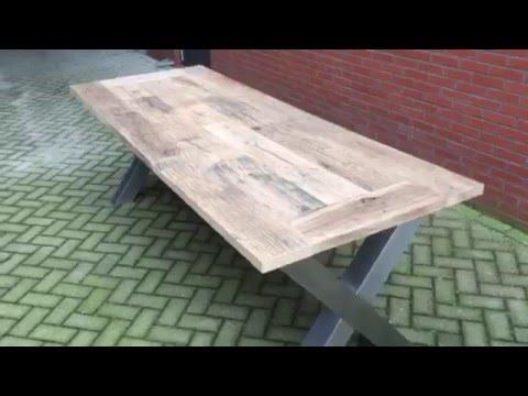 Robuuste Industriele Tafels.Industriele Stoere Robuuste Tafel Eettafel Eiken Wagonplanken