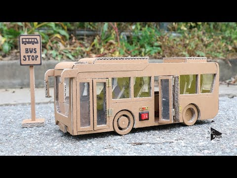How to make Toy Bus(Folding Door) - Amazing Cardboard Car
