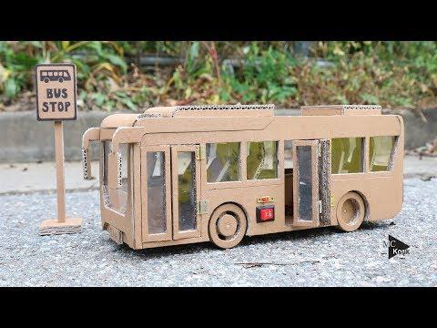 How to make Toy Bus(Folding Door) - Amazing Cardboard Car