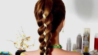 Коса из 4-х прядей (3+1 лента).(В этом видео я покажу плетение косы из 4-х прядей. Три пряди плюс одна лента. Такая коса с лентой универсальн..., 2013-09-12T09:21:57.000Z)