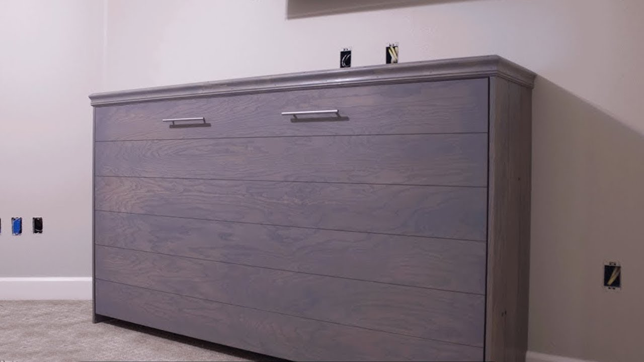 horizontal murphy bed with ship lap diy woodbrew workshop