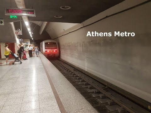 Athens Metro 2nd-generation train operated by Attiko Metro calling at station