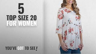 Top 10 Top Size 20 For Women [2018]: Dearlove Womens Floral Print T-Shirt Ruffle 3/4 Sleeve Tunic