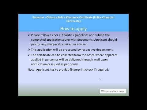 Bahamas - Obtain a Police Clearance Certificate (Police Character Certificate, PCC)