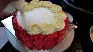 Anniversary Rose Cake with Whipped Cream   How to make Rose Swirl Cake with No Fondant in Hindi