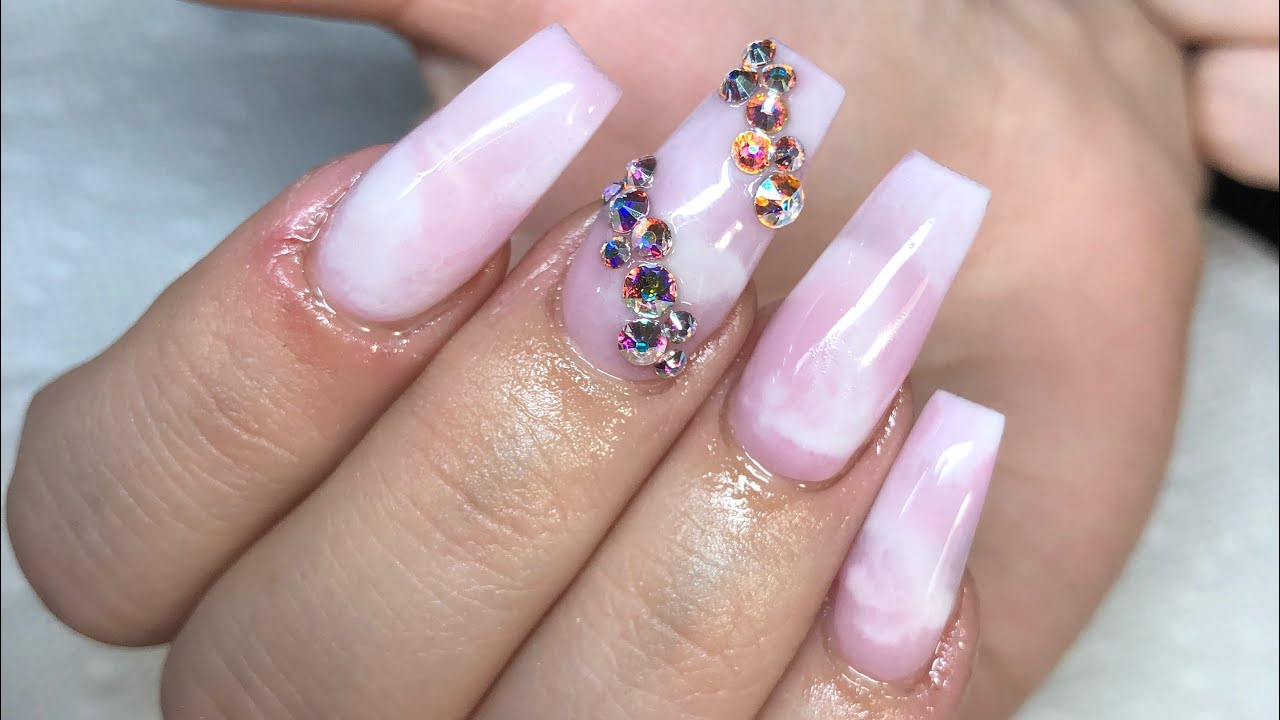 Pink and white marble coffin nails!