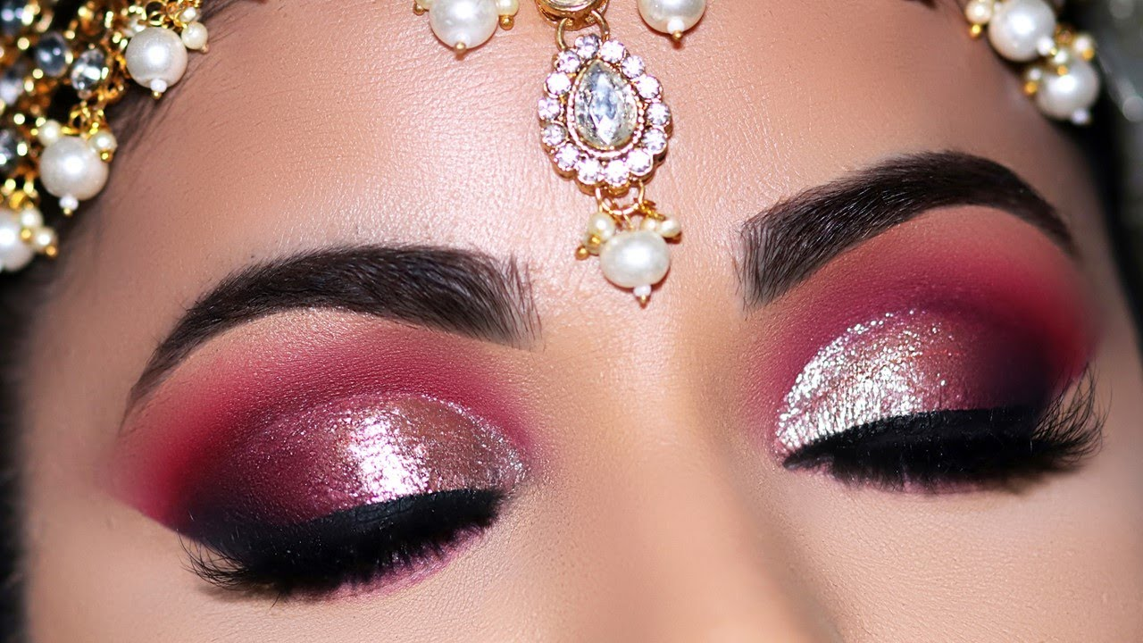 Step By Step Indian Asian Bridal Eye Makeup Tutorial Glitter Cutcrease Daytime Wedding Look Youtube
