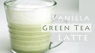 Vanilla Green Tea Latte Recipe 그린티 라떼 만들기 - 한글 자막