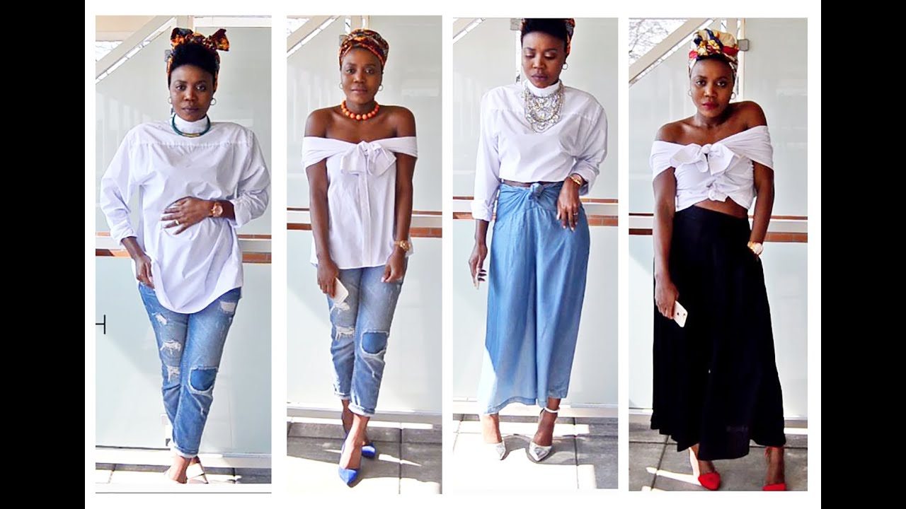 HOW TO STYLE OVERSIZED WHITE SHIRT l 2016 SPRING LOOKBOOK - YouTube