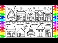 How to Draw a Cute Little Town for Christmas 🎄☃️ Christmas Drawing and Coloring Pages for Kids