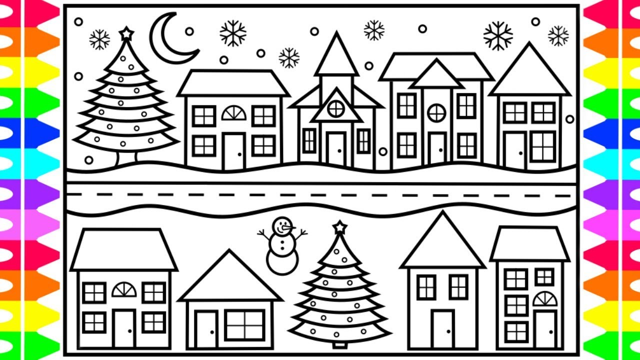 how to draw a cute little town for christmas 🎄☃ christmas