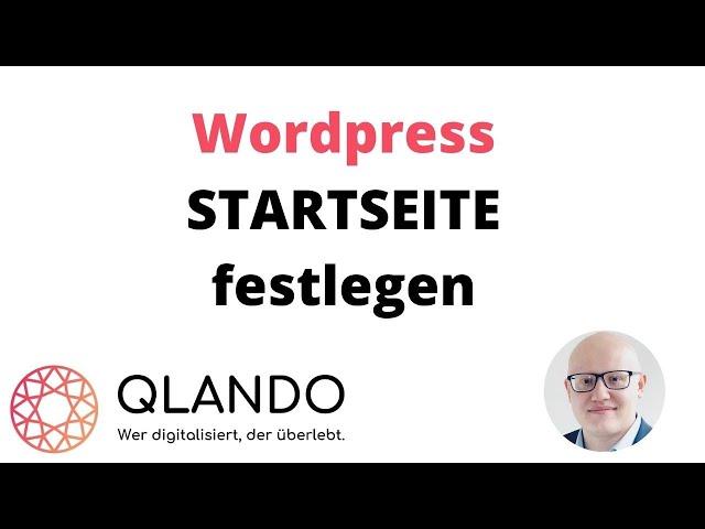 Wordpress Startseite festlegen   Homepage in WP   QLANDO